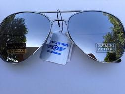 Aviator 01 Sunglasses Metal Frame Silver Mirror Lens . Cops