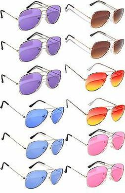 WHOLESALE 12 AVIATOR STYLE COLORED LENS METAL SUNGLASSES RED