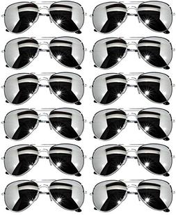 12 Pack Aviator Mirrored Lens Eyeglasses Black, Silver Frame