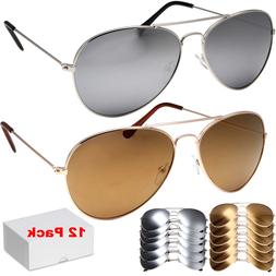 12 Pack Wholesale Lot of 12 Aviator STYLE Sunglasses Metal U