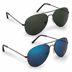 2 classic aviator sunglasses with protective bag
