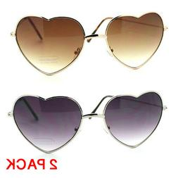 2 Pack Vintage Fashion Lolita Gold Heart Shaped Aviator Fram