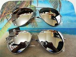 2 PAIR OF LARGE AVIATOR SUNGLASSES SILVER MIRROR LENS SILVER