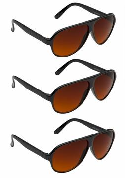 3 PAIR Aviator BLUE BLOCKER Sunglasses with Amber Lens Drivi