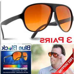 3 PAIR BLUE BLOCKER Sunglasses Aviator w/ Case Amber Lens Me