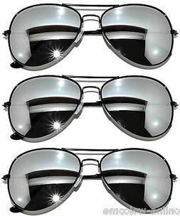 3 PAIRS OF BLACK FRAME MIRROR LENS AVIATOR STYLE METAL SUNGL