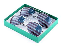 American Flag Aviator Sunglasses Glasses - Gold/Silver