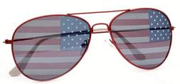 American Flag Aviator Sunglasses Red Frame Glasses