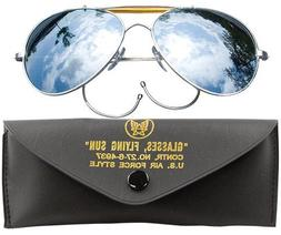AVIATOR AIR FORCE STYLE SUNGLASSES w/ CASE - MIRROR