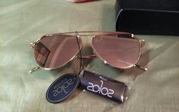SOJOS Aviator Mirrored Flat Lens Sunglasses Metal Frame Gold