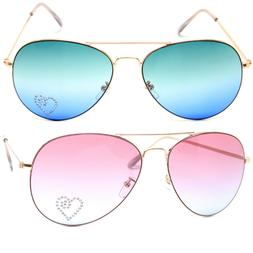 Aviator Ocean Lens Sunglasses Gold Metal Frame with Heart Pa