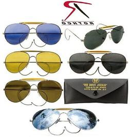 Aviator Style Pilot Sunglasses Chrome Frame & Case Rothco 10