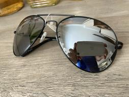 Aviator Sunglasses Black With Mirror Curved Lens Large Size