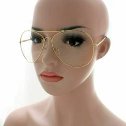 AVIATOR SUNGLASSES EXTRA LARGE CLEAR FLASH MIRROR LENS OVER