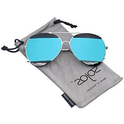 SOJOS Aviator Sunglasses for Men and Women Metal Frame Flash