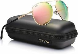 LUENX Aviator Sunglasses for Women Polarized Mirror with Cas
