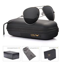 LUENX Men Women Aviator Sunglasses Grey Polarized Non-Mirror