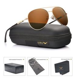 aviator sunglasses mens polarized with case uv