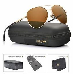 LUENX Aviator Sunglasses Mens Womens Polarized Brown Lens Go