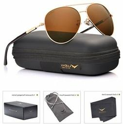 LUENX Aviator Sunglasses Mens Womens Polarized Brown Plastic