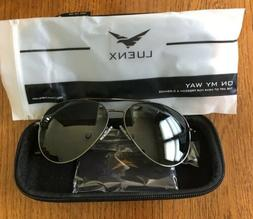 Luenx Aviator Sunglasses NEW with Case Eyeglass Cleaner