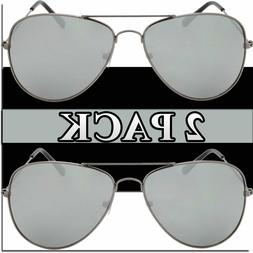 AVIATOR SUNGLASSES PIOLT STYLE TOP GUN SILVER MIRROR AVIATOR