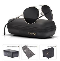 Mens Womens Sunglasses Aviator Polarized Black by LUENX, Lig