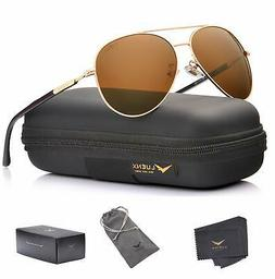 LUENX Aviator Sunglasses Polarized Brown Plastic Gold Metal