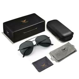 LUENX Aviator Sunglasses Polarized Men/Women Black Lens Blac