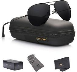 LUENX Aviator Sunglasses Polarized Men Women Black Lens Blac