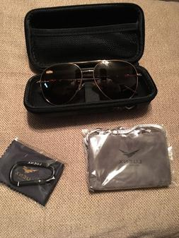 Luenx Aviator Sunglasses Polarized Mens Brown Lens Gold Meta