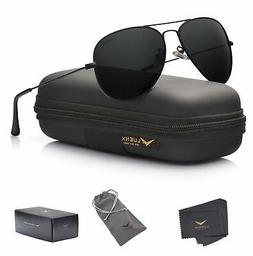 LUENX Aviator Sunglasses Polarized Mens Womens Black Lens Bl