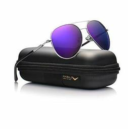 453a9232ad LUENX Aviator Sunglasses Womens Polarized Mirror Purple Lens