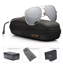 LUENX Mens Womens Aviator Sunglasses Polarized Silver Mirror