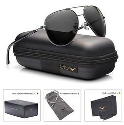 LUENX Aviator Sunglasses Womens Polarized Mirror with Case -