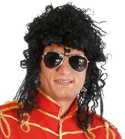 BLACK CURLY RELAXED AFRO WIG 1980S POP ROCK STAR FANCY DRESS