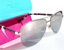 NEW* KATE SPADE Blossom Aviator 58mm  Silver Crystal Mirror