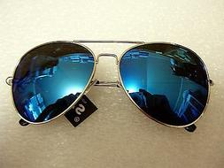 Blue Mirror Aviator Sunglasses With Silver Frame for Men/ Wo