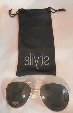 Box of 12 Gold Stylle Wire Rimmed Aviator Sunglasses NEW