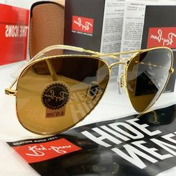 BROWN/GOLD Ray Ban Sunglass Aviator Classic LARGE 62mm NEW O
