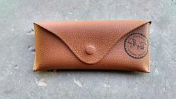 Ray Ban Brown Tan Leather Case for Aviator Sunglasses Travel