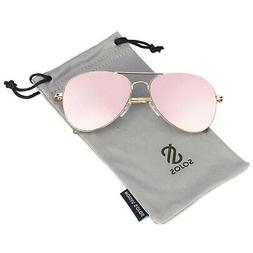 SOJOS Classic Aviator Mirrored Flat Lens Sunglasses Metal Fr
