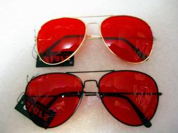 classic deep red sunglasses with metal frame