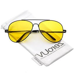 zeroUV - Classic Double Large Yellow Tinted Lens Night Drivi