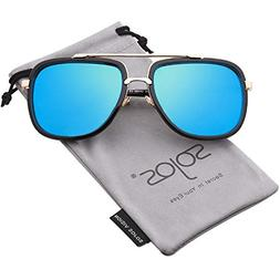 SOJOS Classic Square Aviator Sunglasses Oversized Double Bar