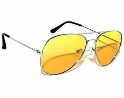 Classic Aviator Sunglasses Yellow Gradient Lens Metal Silver