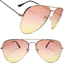 Classy 80s 90s Womens Mens Two Tone Pink & Yellow Lens Gold