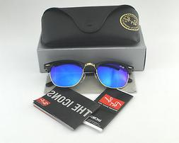 Clubmaster Round Black and Gold-Tone Sunglasses Blue Reflect