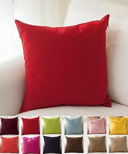 """TangDepot Cotton Solid Throw Pillow Covers, 18"""" x 18"""" , Red"""