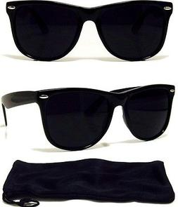 Dark Black Sunglasses Retro Aviator Style Frame with Dark Le